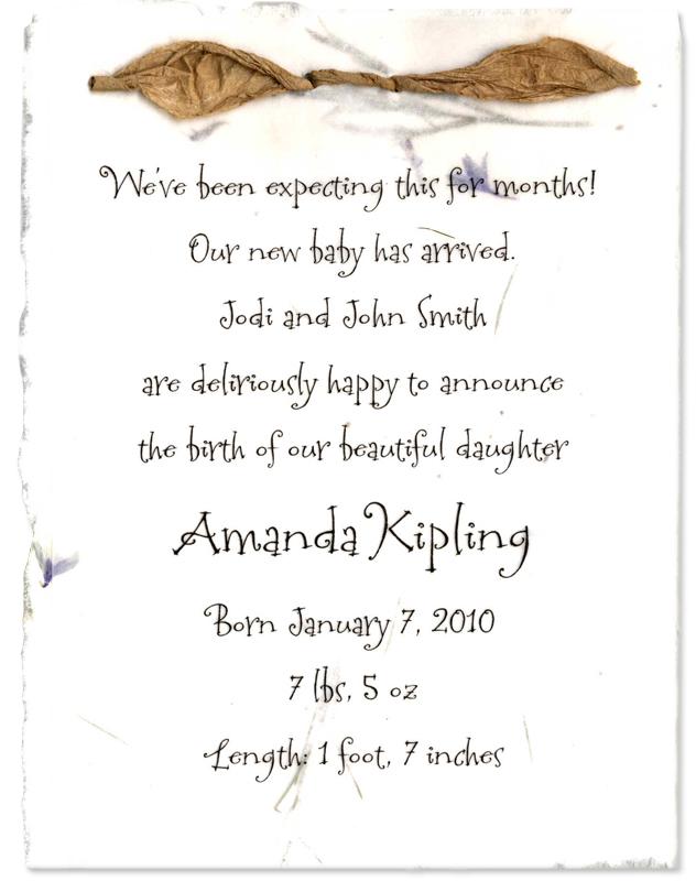 handmade birth announcement