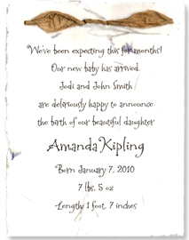handmade birth announcement