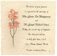 6x6 lotka panel invitation with print and flowers