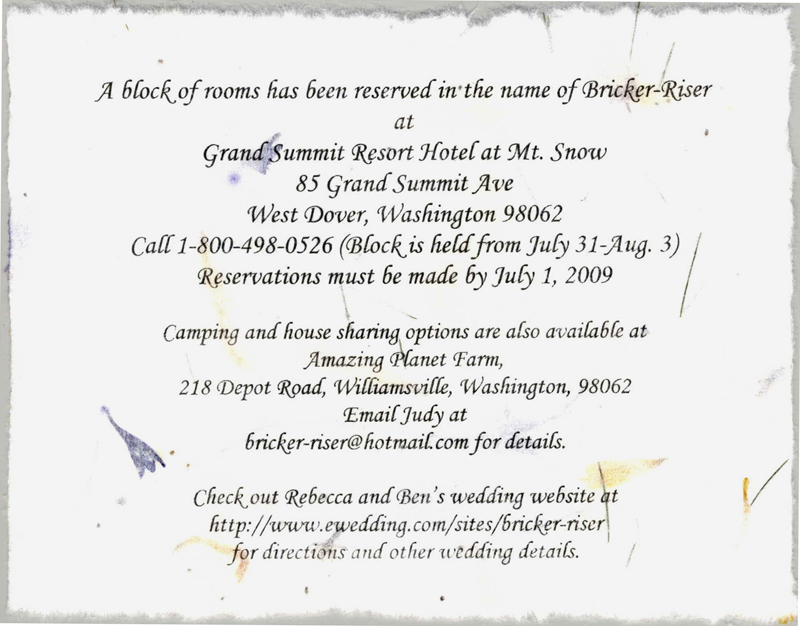 Wedding direction cards cotton torn edge seed paper accommodation cotton handmade accomodations card filmwisefo Choice Image