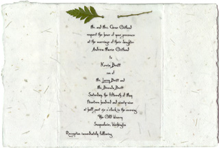 "6""x9"" Handmade Invitation with Leather Fern Attachment"