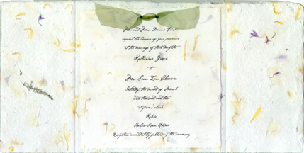 Example of 6 inch folded invitation