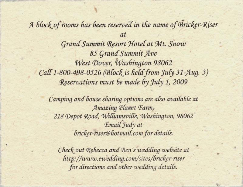 Accommodation Card Examples of Wedding Invitation Wording for