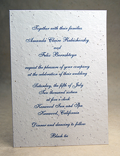 5x7 invitation with color ink