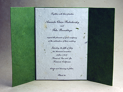 green wrap and invitation