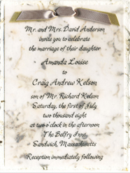 Panel invitation with vellum and double ribbon bow