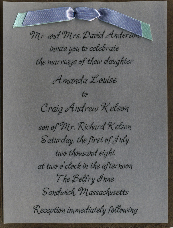 Wedding Invitations from Handmade Lotka Paper with satin ribbon