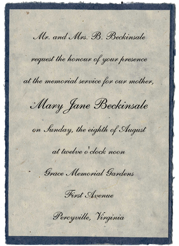 Memorial Invitations - Handmade - seed paper, pressed flowers ...