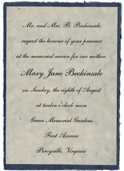 handmade memorial invitation