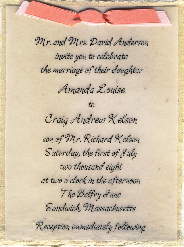 wedding invitations from handmade lotka paper with satin ribbon