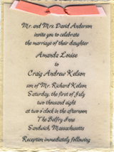 "4.5"" x 6"" invitation with vellum and satin ribbon"