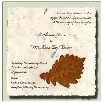 Oak Leaf Flowerseed Handmade Invitation