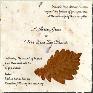 Flat panel cotton paper invitation with leaves