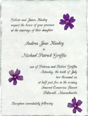 Pressed Flower Wedding Invitations Handmade Paper With Real Flowers
