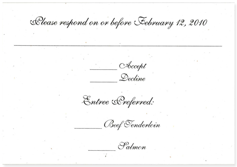 wedding response card wording with menu selection 28 images