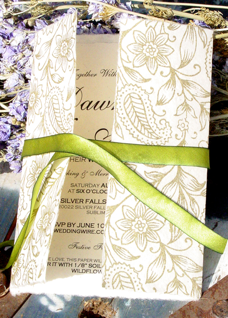 Invitations handmade for weddings seed paper pressed flowers 710 golden garden wrap 57 seed paper panel and charm silk solutioingenieria Choice Image