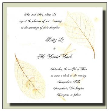 Winter Sweet Flowerseed Handmade Invitation