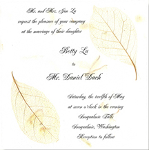6 inch Square Invitation with Winter Sweet Leaves