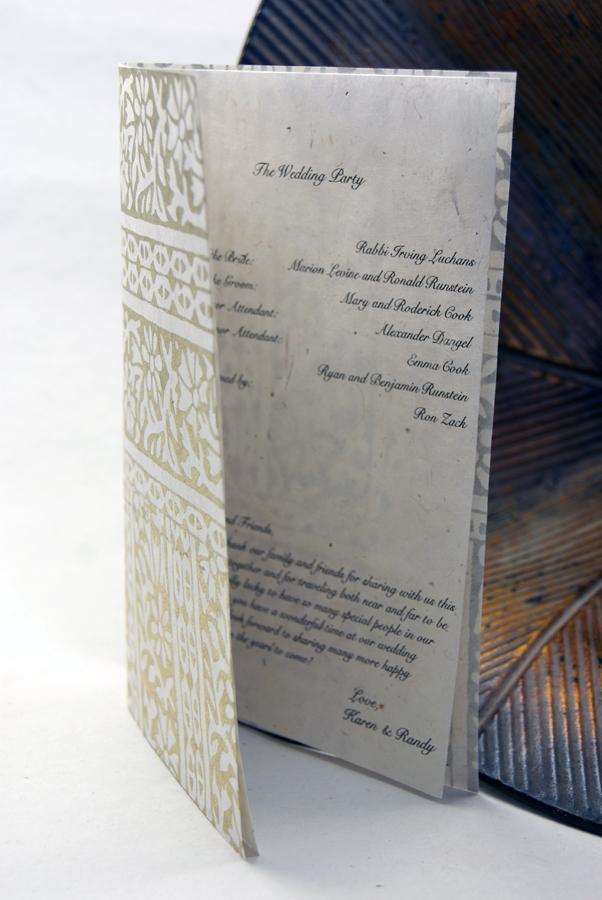 wedding programs on handmade seed paper