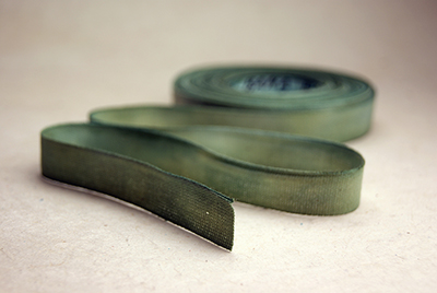 Green cotton hand dyed ribbon