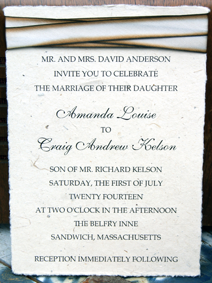 Recycled lotka seed paper paper invitation with blend #014 Silk ribbon