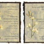 Pressed larkspur invitation with torn edges