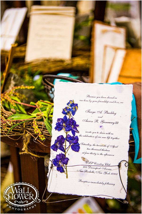 Seed paper natural petal paper invitation with larkspur flower