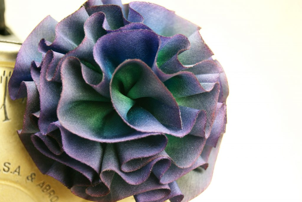 Purple Silk Flower Hair Clip