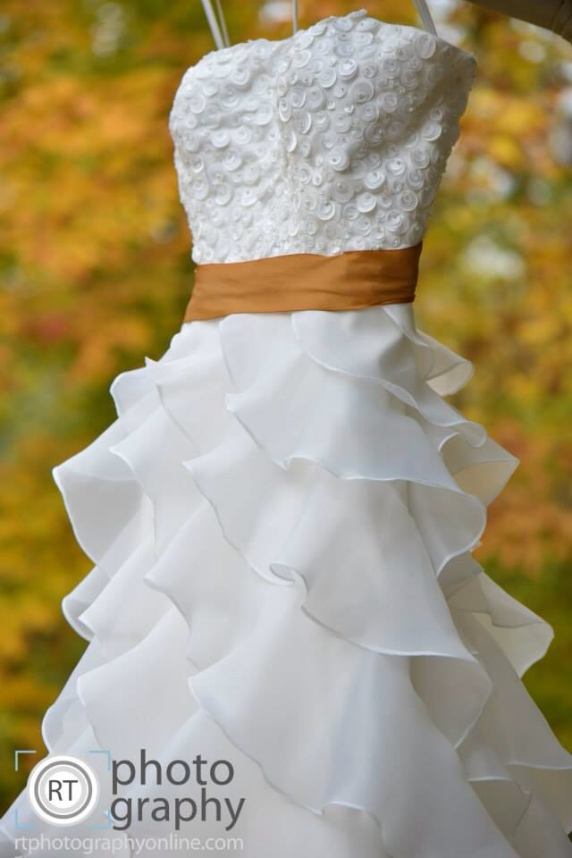 Wedding gown with an Earth Silk Sash