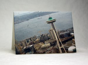 handmade cotton seeded paper card with image of the Space Needle