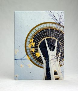 cotton seeded paper card with image of the Space Needle