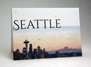 Iconic Seattle image printed in color on handmade seeded paper.