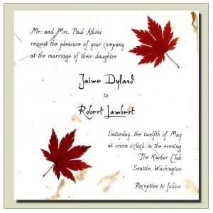 Red Japanese Maple Leaf invitation