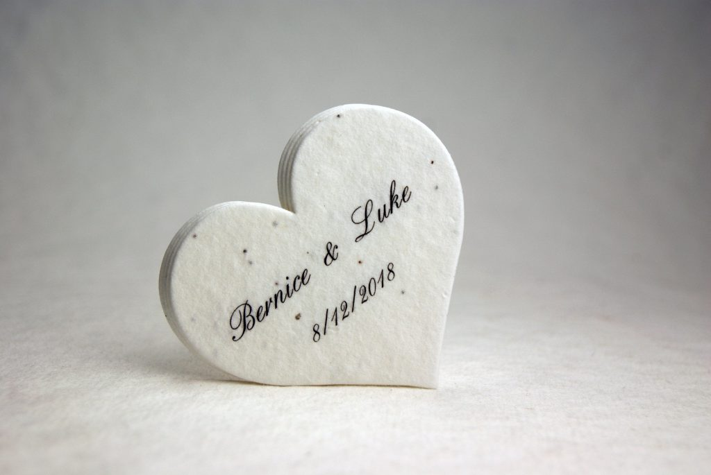 Handmade Seed Paper Personalized Heart