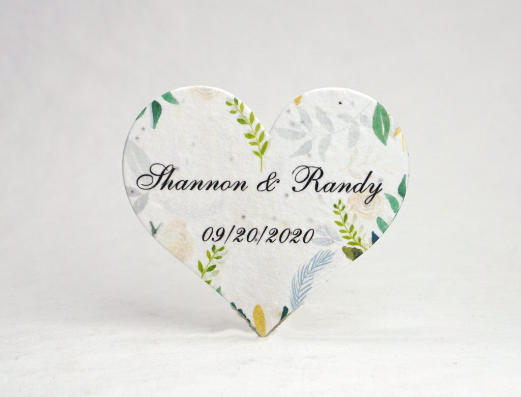Personalized Seed Paper Hearts for Wedding Favors