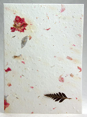 leather fern and pink larkspur petal handmade paper